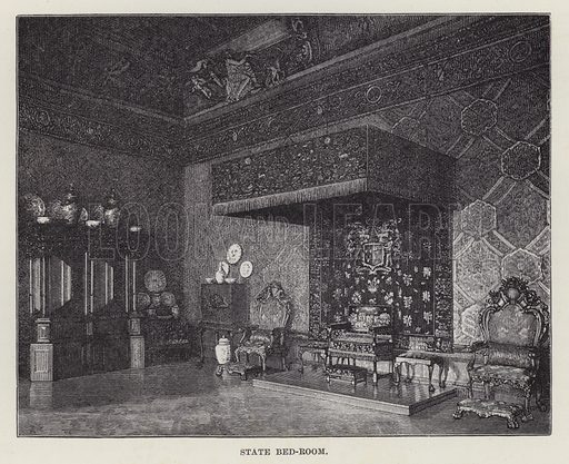 Chatsworth, State Bed-Room. Illustration for Historic Houses of the United Kingdom (Cassell, 1892).