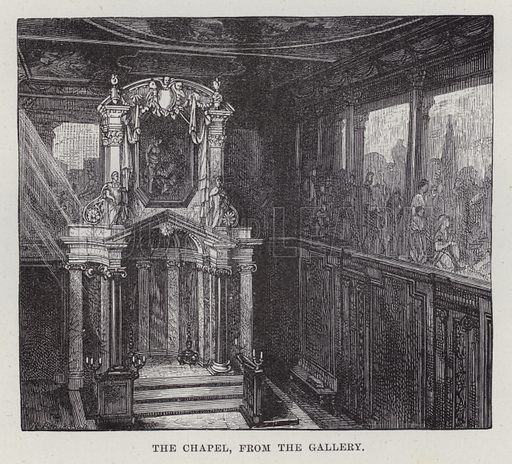 Chatsworth, The Chapel, from the Gallery. Illustration for Historic Houses of the United Kingdom (Cassell, 1892).