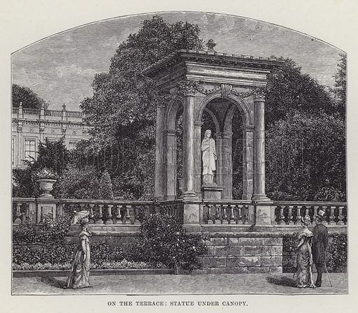 Trentham Hall, On the Terrace, Statue under Canopy. Illustration for Historic Houses of the United Kingdom (Cassell, 1892).