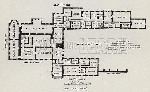 Plan of St Giles'. Illustration for Historic Houses of the United Kingdom (Cassell, 1892).