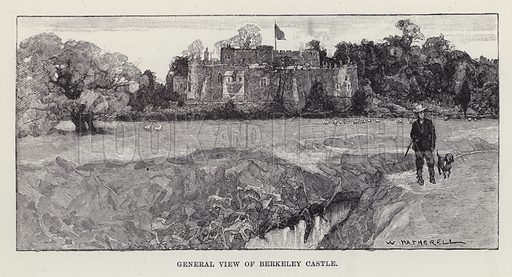 General View of Berkeley Castle. Illustration for Historic Houses of the United Kingdom (Cassell, 1892).