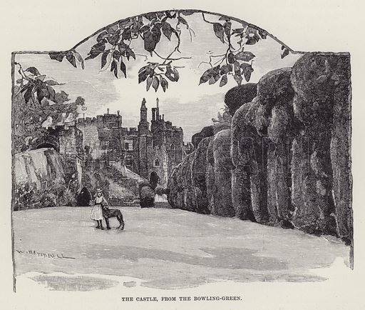 Berkeley Castle, The Castle, from the Bowling-Green. Illustration for Historic Houses of the United Kingdom (Cassell, 1892).