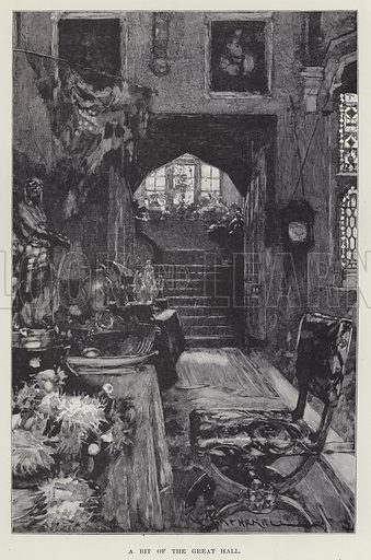 Berkeley Castle, A Bit of the Great Hall. Illustration for Historic Houses of the United Kingdom (Cassell, 1892).