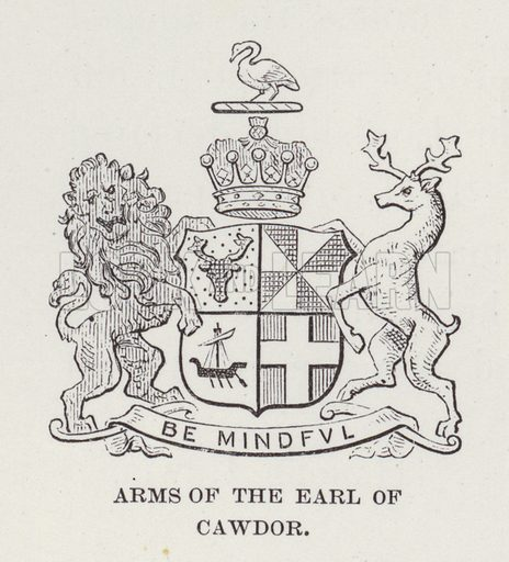Cawdor Castle, Arms of the Earl of Cawdor. Illustration for Historic Houses of the United Kingdom (Cassell, 1892).