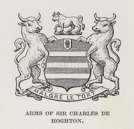 Hoghton Tower, Arms of Sir Charles De Hoghton. Illustration for Historic Houses of the United Kingdom (Cassell, 1892).