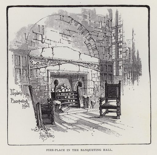 Hoghton Tower, Fire-Place in the Banqueting Hall. Illustration for Historic Houses of the United Kingdom (Cassell, 1892).