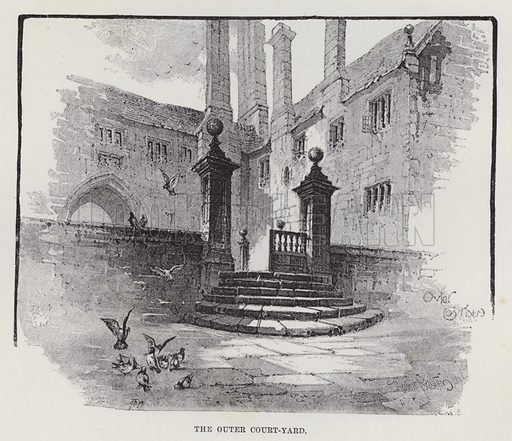 Hoghton Tower, The Outer Court-Yard. Illustration for Historic Houses of the United Kingdom (Cassell, 1892).