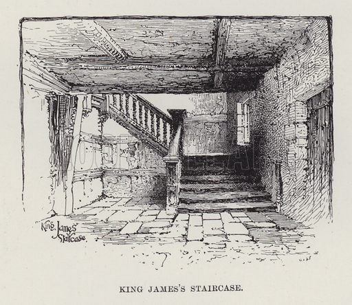 Hoghton Tower, King James's Staircase. Illustration for Historic Houses of the United Kingdom (Cassell, 1892).