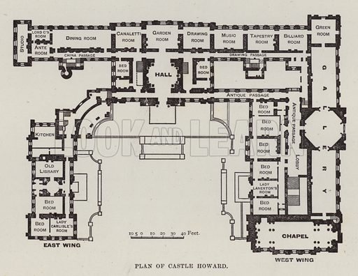 Plan of Castle Howard. Illustration for Historic Houses of the United Kingdom (Cassell, 1892).