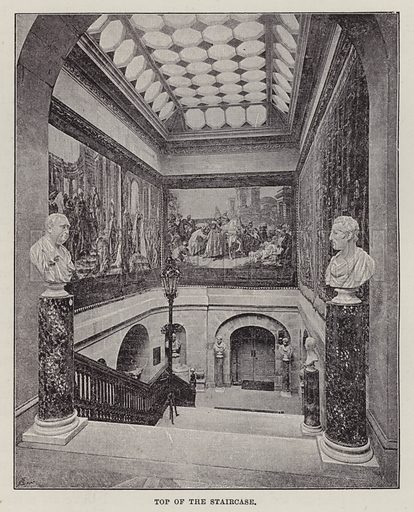 Castle Howard, Top of the Staircase. Illustration for Historic Houses of the United Kingdom (Cassell, 1892).
