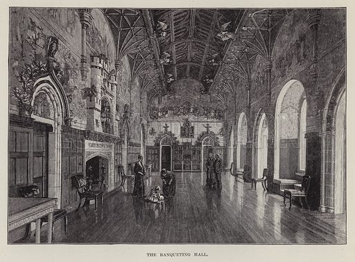 Cardiff Castle, The Banqueting Hall. Illustration for Historic Houses of the United Kingdom (Cassell, 1892).