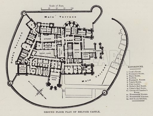 Ground Floor Plan of Belvoir Castle. Illustration for Historic Houses of the United Kingdom (Cassell, 1892).
