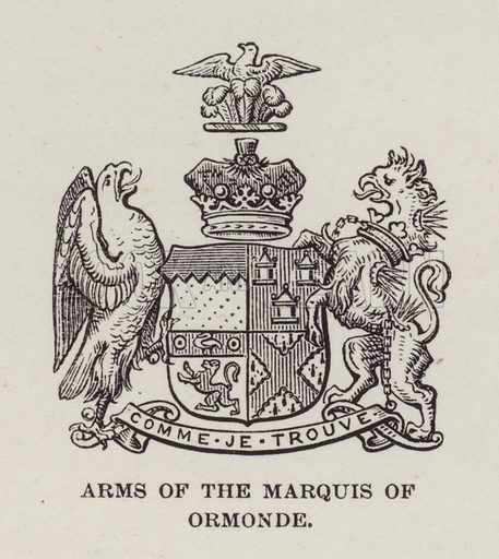 Kilkenny Castle, Arms of the Marquis of Ormonde. Illustration for Historic Houses of the United Kingdom (Cassell, 1892).