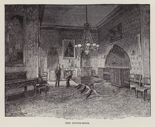 Kilkenny Castle, The Dining-Room. Illustration for Historic Houses of the United Kingdom (Cassell, 1892).