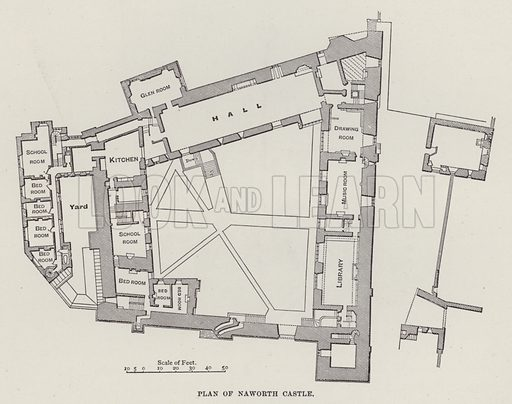 Plan of Naworth Castle. Illustration for Historic Houses of the United Kingdom (Cassell, 1892).