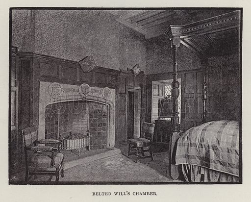 Naworth Castle, Belted Will's Chamber. Illustration for Historic Houses of the United Kingdom (Cassell, 1892).