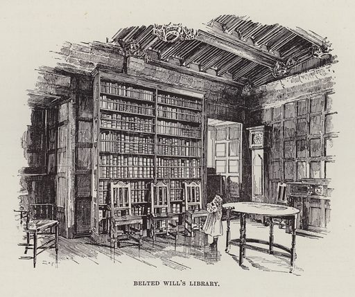 Naworth Castle, Belted Will's Library. Illustration for Historic Houses of the United Kingdom (Cassell, 1892).