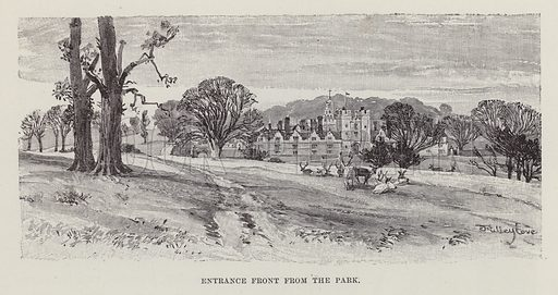 Knole House, Entrance Front from the Park. Illustration for Historic Houses of the United Kingdom (Cassell, 1892).