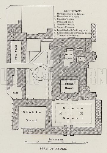 Plan of Knole. Illustration for Historic Houses of the United Kingdom (Cassell, 1892).