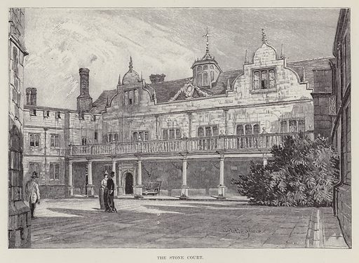 Knole House, The Stone Court. Illustration for Historic Houses of the United Kingdom (Cassell, 1892).