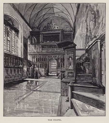 Knole House, The Chapel. Illustration for Historic Houses of the United Kingdom (Cassell, 1892).