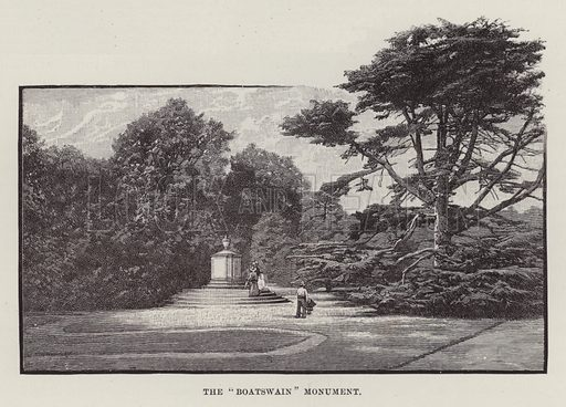 "Newstead Abbey, The ""Boatswain"" Monument. Illustration for Historic Houses of the United Kingdom (Cassell, 1892)."