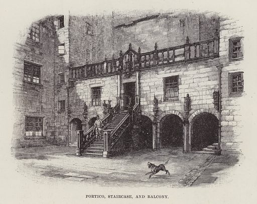 Chillingham Castle, Portico, Staircase, and Balcony. Illustration for Historic Houses of the United Kingdom (Cassell, 1892).