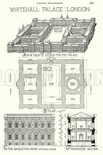 English Renaissance; Whitehall Palace, London. Illustration for A History of Architecture by Sir Banister Fletcher (10th edn, Batsford, 1938).  Originally published in 1896.  This work is the joint publication of Banister Fletcher (Senior) (1833-1899) and Sir Banister Flight Fletcher (1866-1953).