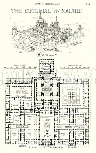 Spanish Renaissance; The Escurial, near Madrid. Illustration for A History of Architecture by Sir Banister Fletcher (10th edn, Batsford, 1938).  Originally published in 1896.  This work is the joint publication of Banister Fletcher (Senior) (1833-1899) and Sir Banister Flight Fletcher (1866-1953).