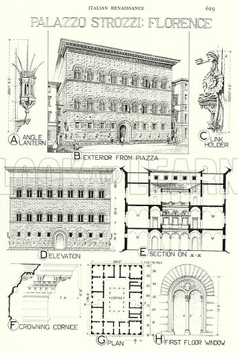Italian Renaissance; Palazzo Strozzi, Florence. Illustration for A History of Architecture by Sir Banister Fletcher (10th edn, Batsford, 1938).  Originally published in 1896.  This work is the joint publication of Banister Fletcher (Senior) (1833-1899) and Sir Banister Flight Fletcher (1866-1953).