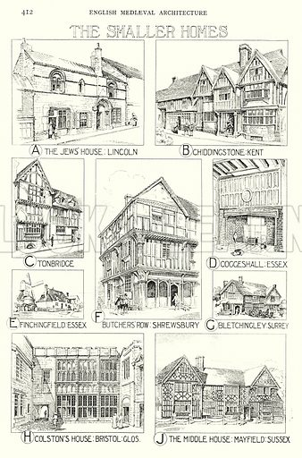 English Mediaeval Architecture; The Smaller Homes. Illustration for A History of Architecture by Sir Banister Fletcher (10th edn, Batsford, 1938).  Originally published in 1896.  This work is the joint publication of Banister Fletcher (Senior) (1833-1899) and Sir Banister Flight Fletcher (1866-1953).