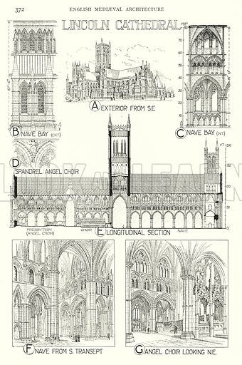 English Mediaeval Architecture; Lincoln Cathedral. Illustration for A History of Architecture by Sir Banister Fletcher (10th edn, Batsford, 1938).  Originally published in 1896.  This work is the joint publication of Banister Fletcher (Senior) (1833-1899) and Sir Banister Flight Fletcher (1866-1953).