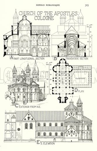 German Romanesque; Church of the Apostles, Cologne. Illustration for A History of Architecture by Sir Banister Fletcher (10th edn, Batsford, 1938).  Originally published in 1896.  This work is the joint publication of Banister Fletcher (Senior) (1833-1899) and Sir Banister Flight Fletcher (1866-1953).