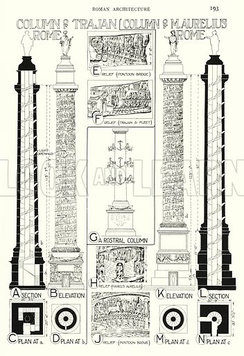 Roman Architecture; Column of Trajan, Rome; Column of M Aurelius, Rome. Illustration for A History of Architecture by Sir Banister Fletcher (10th edn, Batsford, 1938).  Originally published in 1896.  This work is the joint publication of Banister Fletcher (Senior) (1833-1899) and Sir Banister Flight Fletcher (1866-1953).