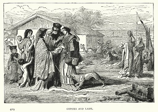 Gypsies and Lady. Illustration for Hungary by Arminius Vambery (7th edn, T Fisher Unwin, 1886).
