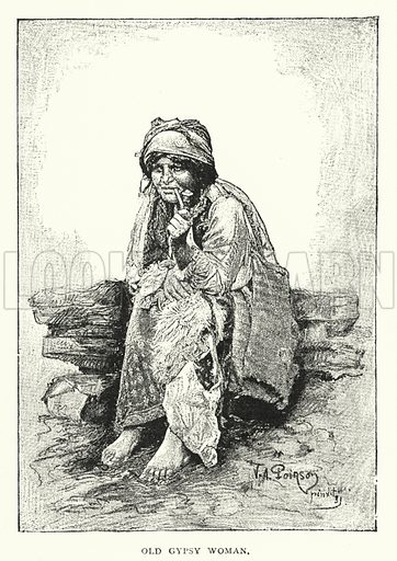 Old Gypsy Woman. Illustration for Hungary by Arminius Vambery (7th edn, T Fisher Unwin, 1886).