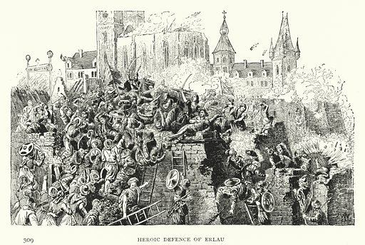 Heroic Defence of Erlau. Illustration for Hungary by Arminius Vambery (7th edn, T Fisher Unwin, 1886).