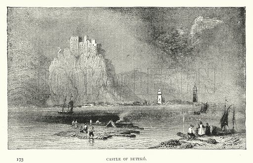 Castle of Betzko. Illustration for Hungary by Arminius Vambery (7th edn, T Fisher Unwin, 1886).