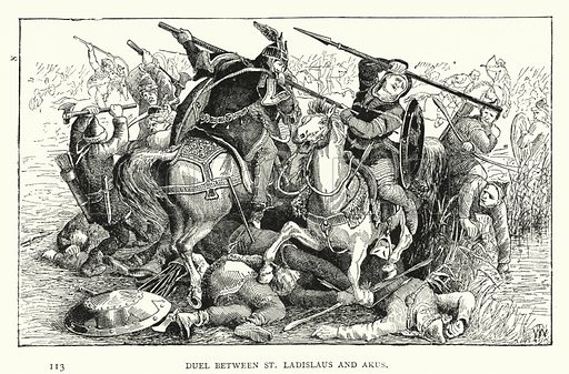 Duel between St Ladislaus and Akus. Illustration for Hungary by Arminius Vambery (7th edn, T Fisher Unwin, 1886).