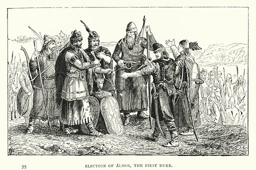 Election of Almos, the First Duke. Illustration for Hungary by Arminius Vambery (7th edn, T Fisher Unwin, 1886).