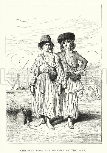 Children from the District of the Save. Illustration for Hungary by Arminius Vambery (7th edn, T Fisher Unwin, 1886).