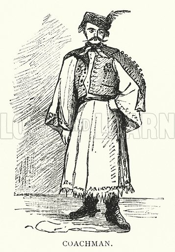 Coachman. Illustration for Hungary by Arminius Vambery (7th edn, T Fisher Unwin, 1886).