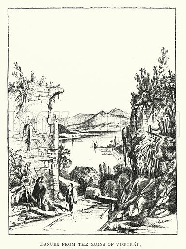 Danube from the Ruins of Visegrad. Illustration for Hungary by Arminius Vambery (7th edn, T Fisher Unwin, 1886).