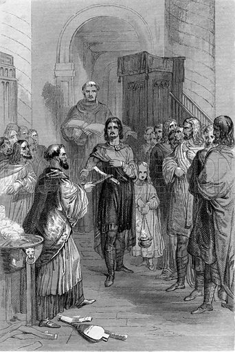 Trial by Ordeal. Illustration for History of the Anglo-Saxons from the Earliest Period to the Norman Conquest by Thomas Miller (3rd edn, David Bogue, 1852).