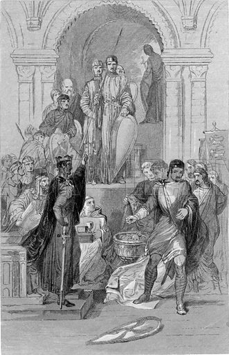 Harold swearing on the Relics of the Saints. Illustration for History of the Anglo-Saxons from the Earliest Period to the Norman Conquest by Thomas Miller (3rd edn, David Bogue, 1852).