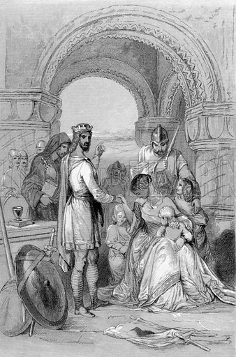 Alfred releasing the family of Hastings. Illustration for History of the Anglo-Saxons from the Earliest Period to the Norman Conquest by Thomas Miller (3rd edn, David Bogue, 1852).