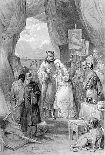 Vortigern and Rowena. Illustration for History of the Anglo-Saxons from the Earliest Period to the Norman Conquest by Thomas Miller (3rd edn, David Bogue, 1852).