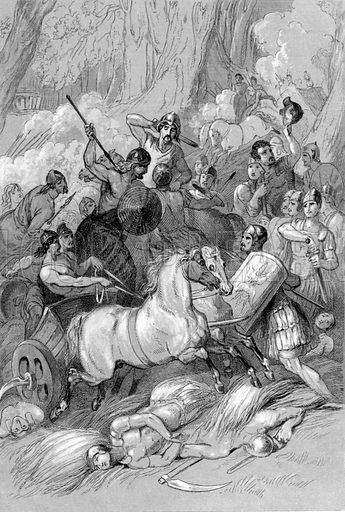 Combat between the Romans and Britons. Illustration for History of the Anglo-Saxons from the Earliest Period to the Norman Conquest by Thomas Miller (3rd edn, David Bogue, 1852).