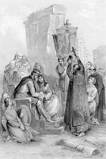 Conversion of Ethelbert. Illustration for History of the Anglo-Saxons from the Earliest Period to the Norman Conquest by Thomas Miller (3rd edn, David Bogue, 1852).