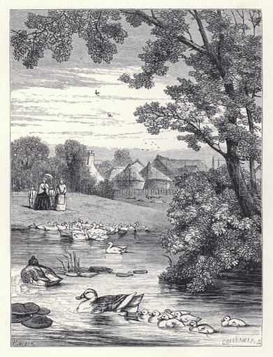 The Duck Pond. Illustration for The History of the Robins by Mrs Trimmer (Griffith and Farran, 1869).